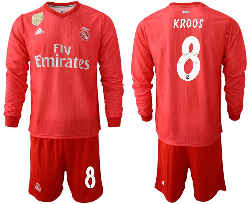 Men 2018-2019 club Real Madrid Second away Long sleeve 8 red Soccer Jerseys
