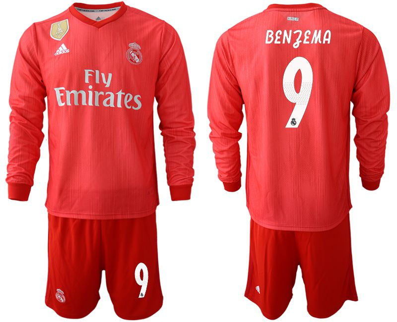 Men 2018-2019 club Real Madrid Second away Long sleeve 9 red Soccer Jerseys