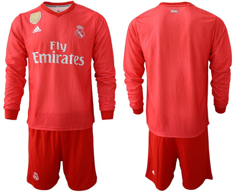 Men 2018-2019 club Real Madrid Second away Long sleeve blank red Soccer Jerseys