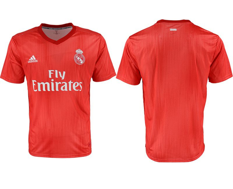 Men 2018-2019 club Real Madrid Second away aaa version blank red soccer jersey