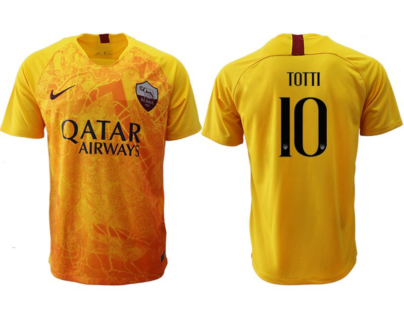 Men 2018-2019 club Rome Second away aaa version 10 yellow Soccer Jerseys