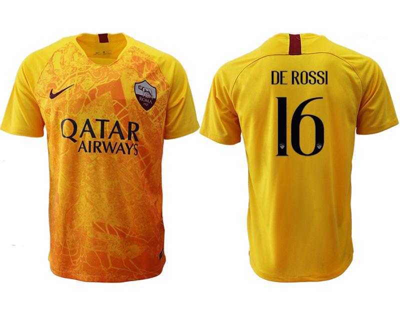 Men 2018-2019 club Rome Second away aaa version 16 yellow Soccer Jerseys
