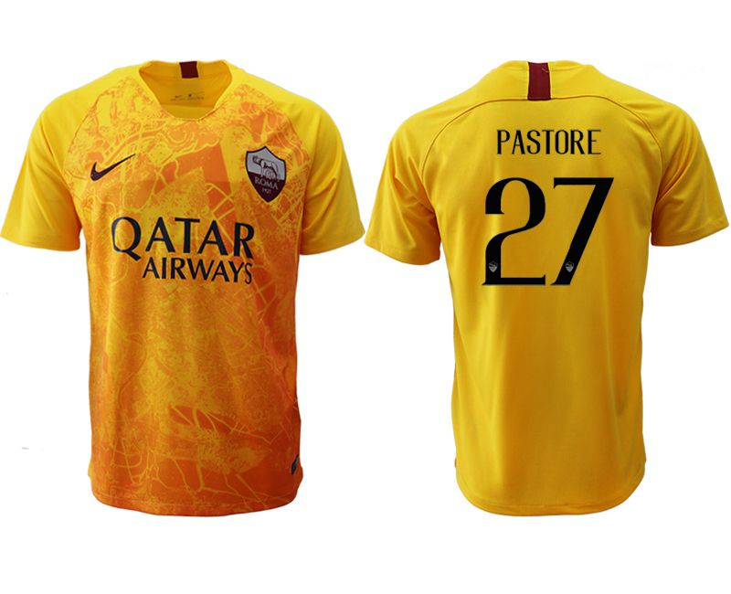 Men 2018-2019 club Rome Second away aaa version 27 yellow Soccer Jerseys