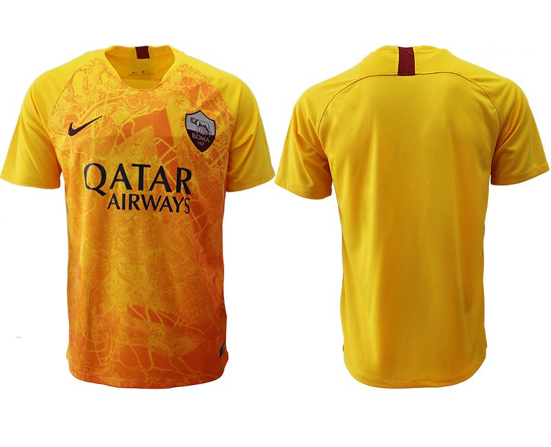 Men 2018-2019 club Rome Second away aaa version blank yellow Soccer Jerseys