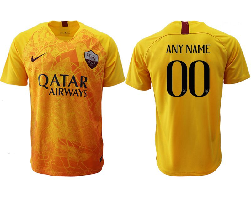 Men 2018-2019 club Rome Second away aaa version customized yellow Soccer Jerseys
