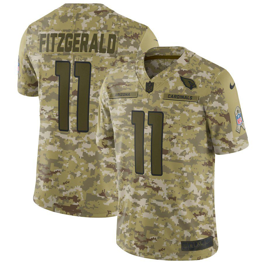Men Arizona Cardinals 11 Fitzgerald Nike Camo Salute to Service Retired Player Limited NFL Jerseys