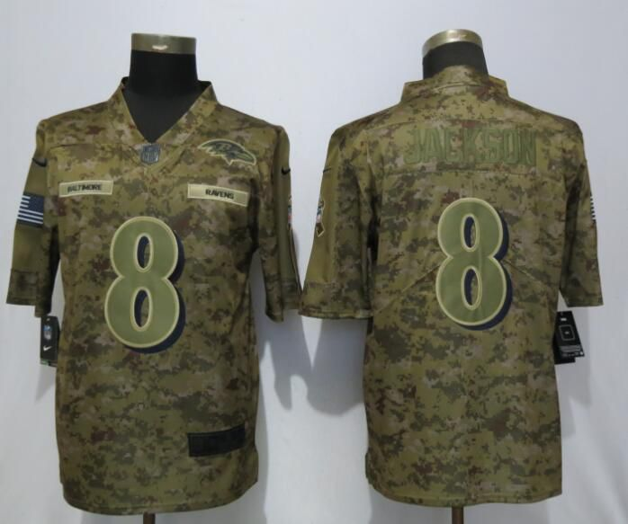 Men Baltimore Ravens 8 Jackson Nike Camo Salute to Service Limited NFL Jerseys