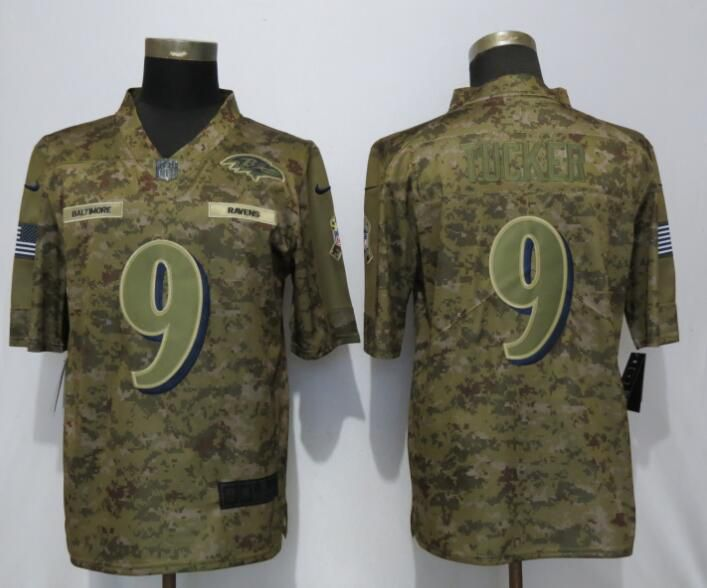 Men Baltimore Ravens 9 Tucker Nike Camo Salute to Service Limited NFL Jerseys