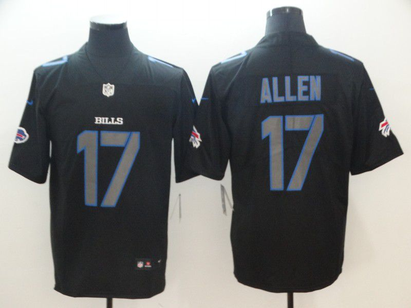 Men Buffalo Bills 17 Allen Nike Fashion Impact Black Color Rush Limited NFL Jerseys