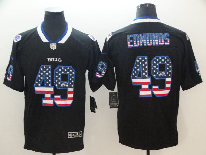 Men Buffalo Bills 49 Edmunds Nike USA Flag Fashion Black Color Rush Limited NFL Jerseys