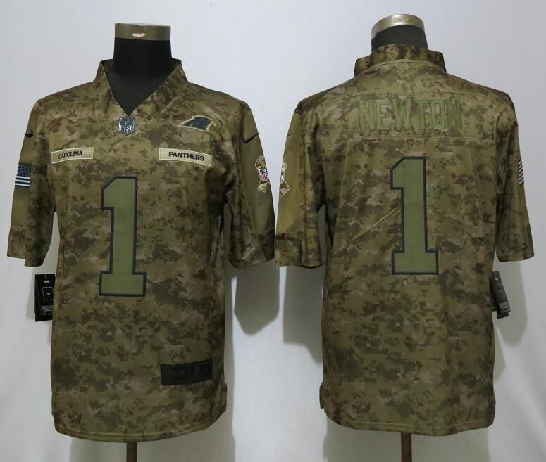 Men Carolina Panthers 1 Newton Nike Camo Salute to Service Limited NFL Jerseys
