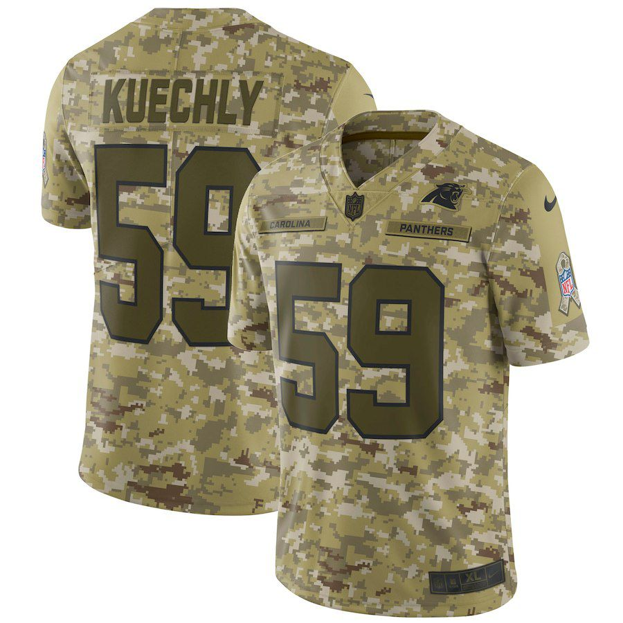 Men Carolina Panthers 59 Kuechly Nike Camo Salute to Service Retired Player Limited NFL Jerseys