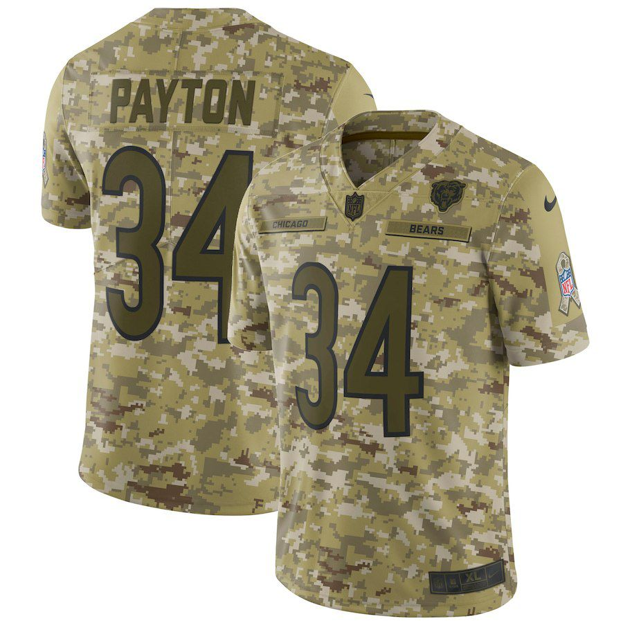 Men Chicago Bears 34 Payton Nike Camo Salute to Service Retired Player Limited NFL Jerseys