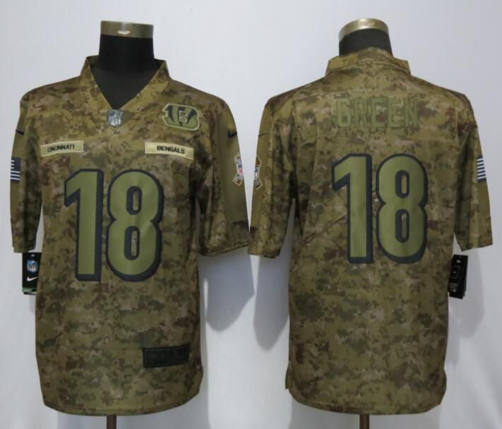 Men Cincinnati Bengals 18 Green Nike Camo Salute to Service Limited NFL Jerseys