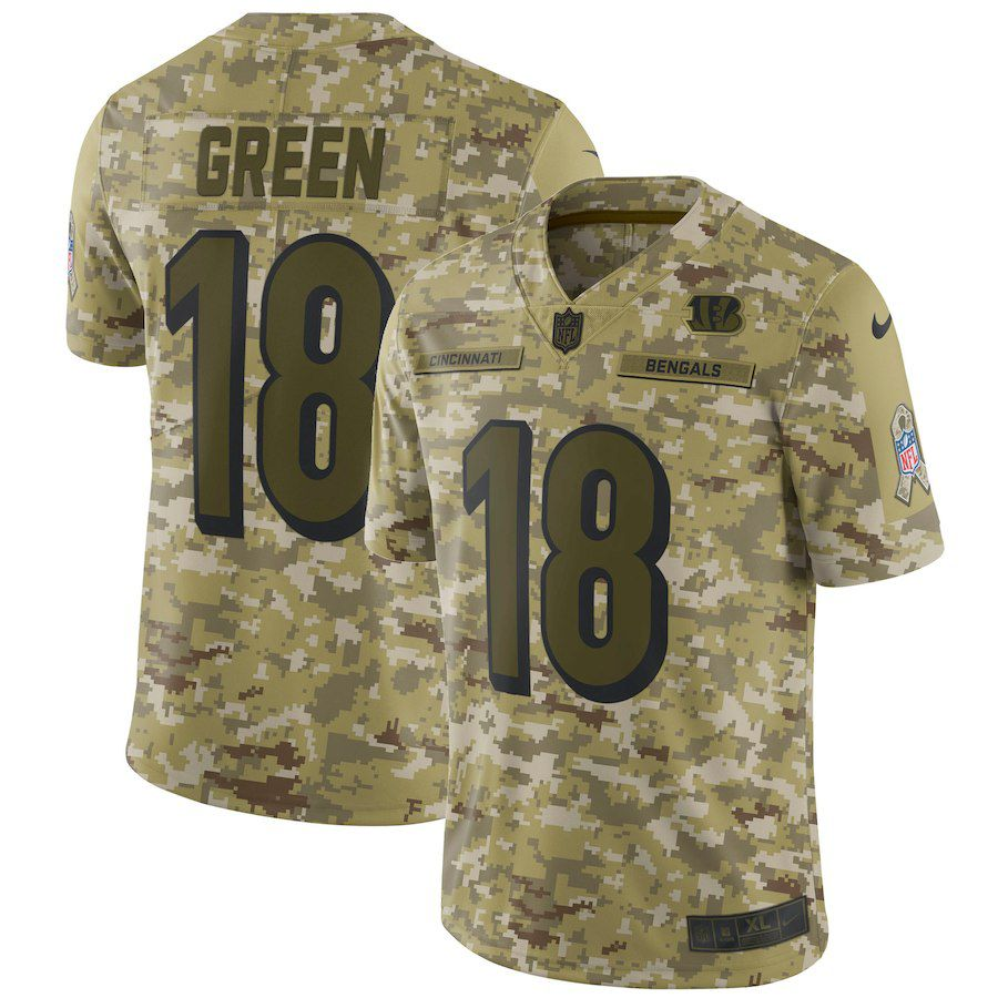 Men Cincinnati Bengals 18 Green Nike Camo Salute to Service Retired Player Limited NFL Jerseys