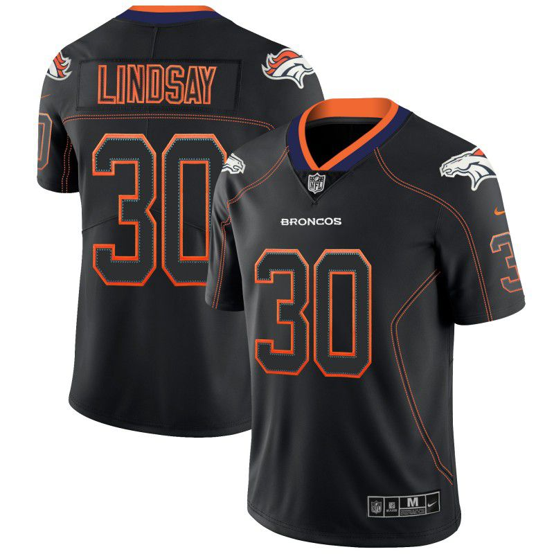 Men Denver Broncos 30 Lindsay Nike Lights Out Black Color Rush Limited NFL Jerseys
