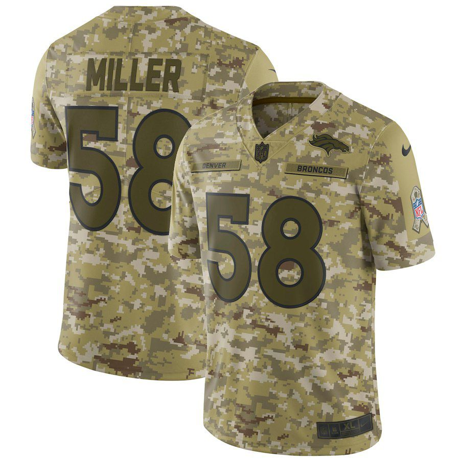 Men Denver Broncos 58 Miller Nike Camo Salute to Service Retired Player Limited NFL Jerseys
