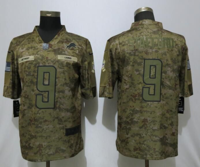 Men Detroit Lions 9 Stafford Nike Camo Salute to Service Limited NFL Jerseys