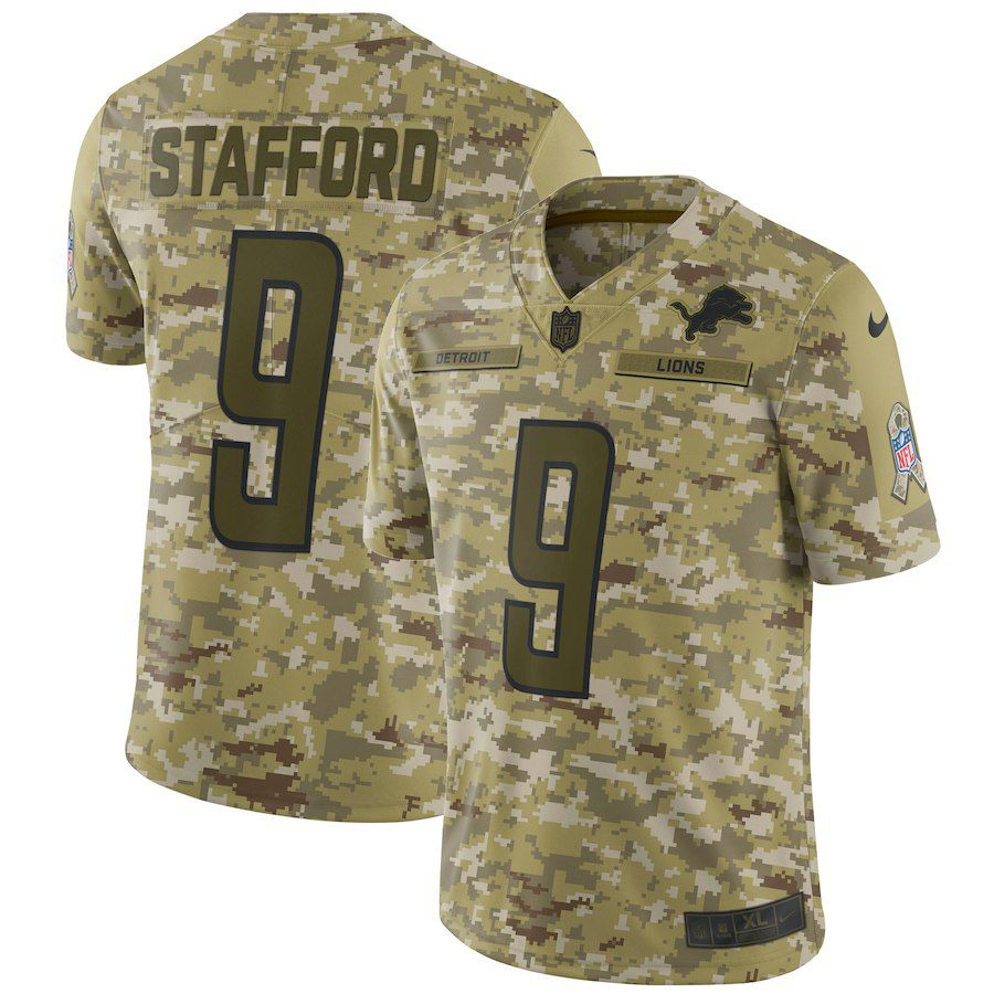 Men Detroit Lions 9 Stafford Nike Camo Salute to Service Retired Player Limited NFL Jerseys