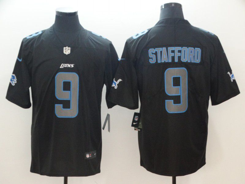 Men Detroit Lions 9 Stafford Nike Fashion Impact Black Color Rush Limited NFL Jerseys