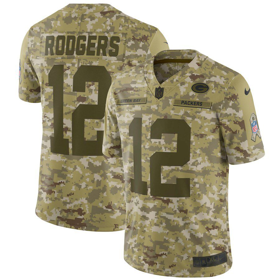Men Green Bay Packers 12 Rodgers Nike Camo Salute to Service Retired Player Limited NFL Jerseys