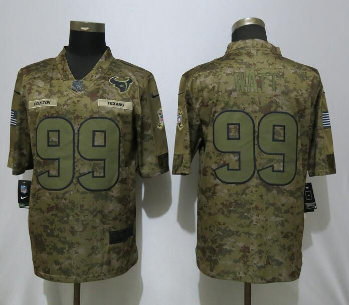 Men Houston Texans 99 Watt Nike Camo Salute to Service Limited NFL Jerseys
