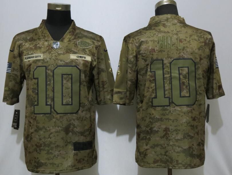 Men Kansas City Chiefs 10 Hill Nike Camo Salute to Service Limited NFL Jerseys