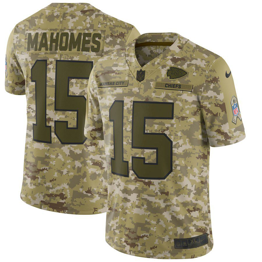 Men Kansas City Chiefs 15 Mahomes Nike Camo Salute to Service Retired Player Limited NFL Jerseys
