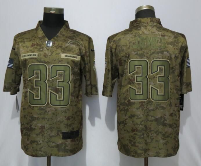 Men Los Angeles Chargers 33 James Nike Camo Salute to Service Limited NFL Jerseys