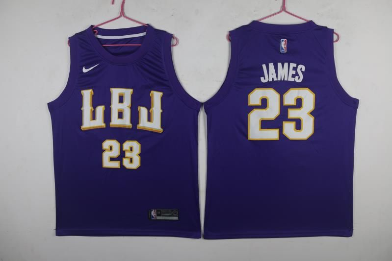 Men Los Angeles Lakers 23 James Purple Game Nike NBA Jerseys