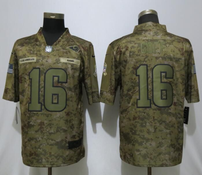 Men Los Angeles Rams 16 Goff Nike Camo Salute to Service Limited NFL Jerseys