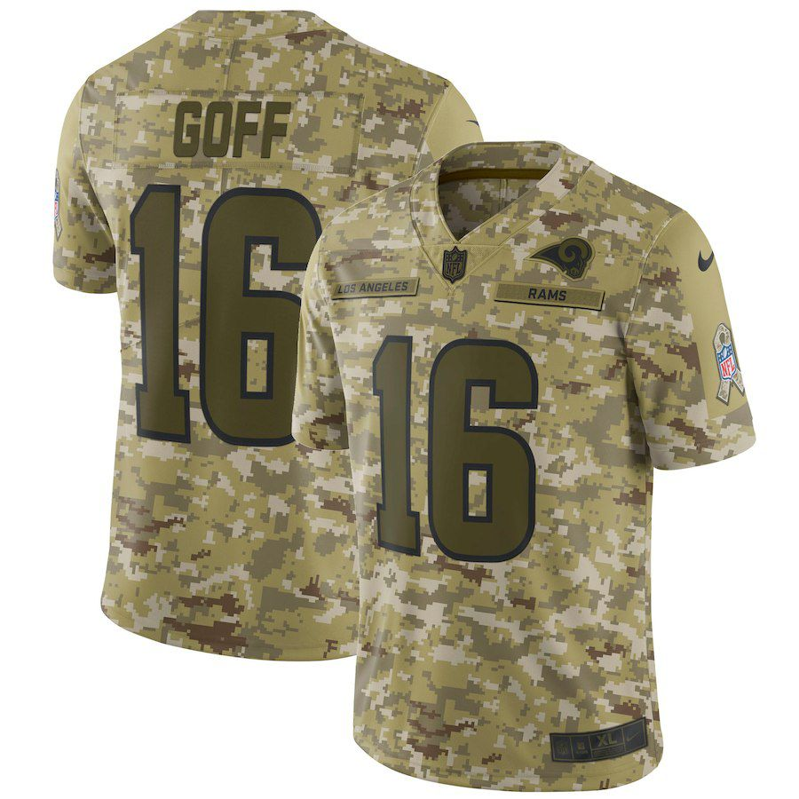 Men Los Angeles Rams 16 Goff Nike Camo Salute to Service Retired Player Limited NFL Jerseys