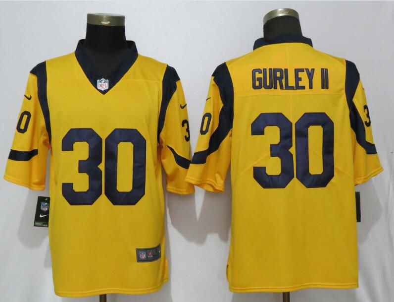 64e5ad29b Men Los Angeles Rams 30 Gurley ii Gold Nike Royal 2018 Alternate Game NFL  Jerseys