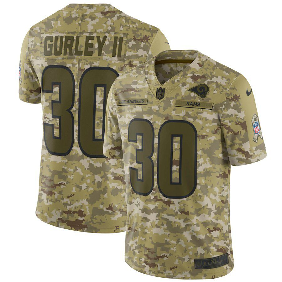 Men Los Angeles Rams 30 Gurley ii Nike Camo Salute to Service Retired Player Limited NFL Jerseys
