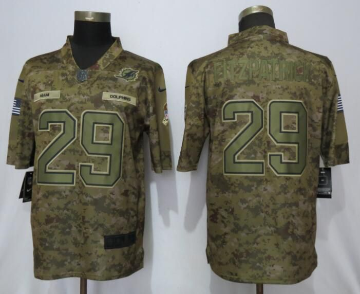 Men Miami Dolphins 29 Fitzpatrick Nike Camo Salute to Service Limited NFL Jerseys