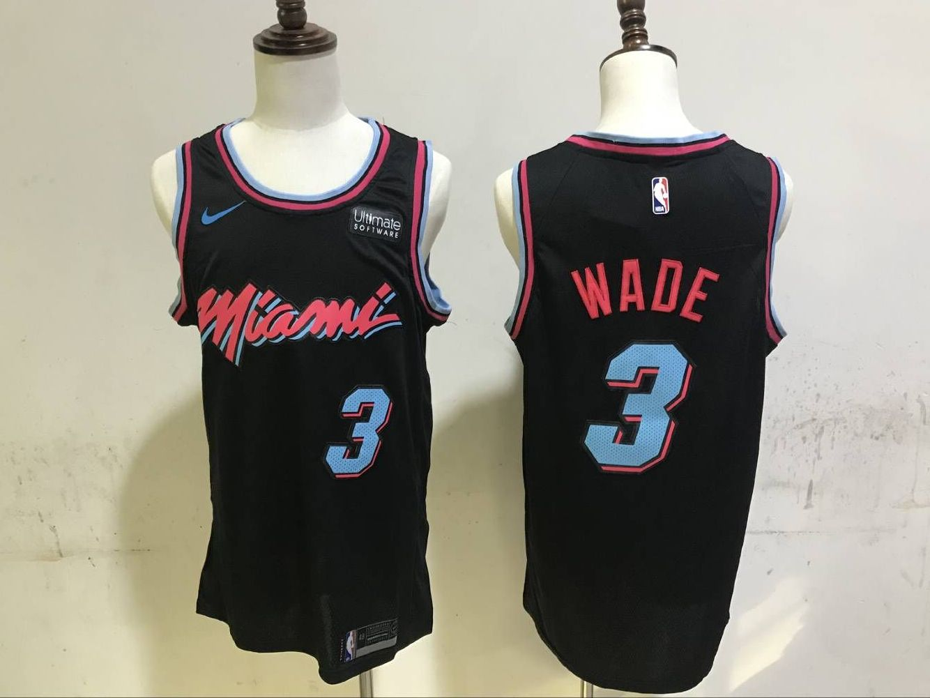 Men Miami Heat 3 Wade Black City Edition Game Nike NBA Jerseys