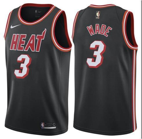 Men Miami Heat 3 Wade Black Game Nike NBA Jerseys1