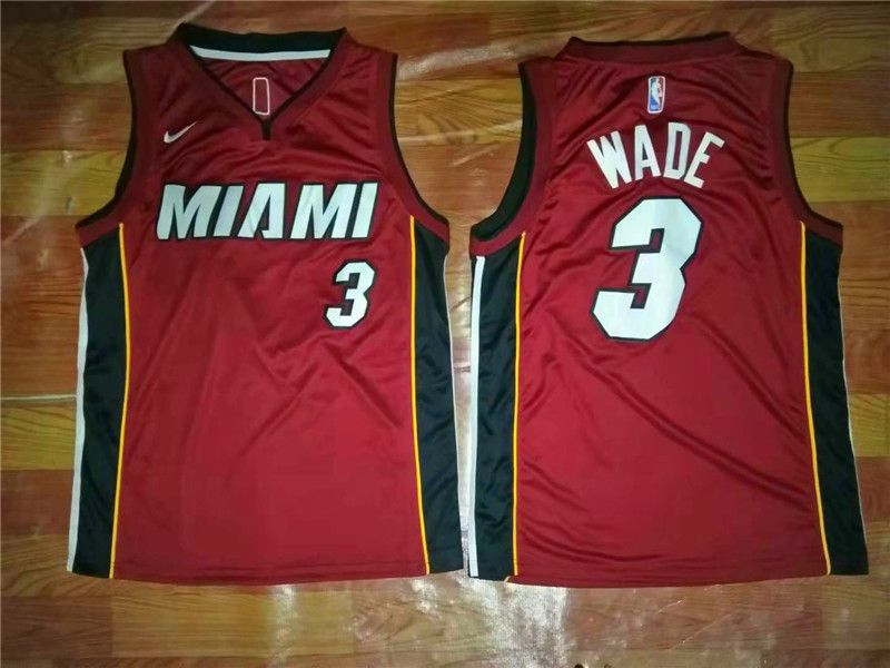 Men Miami Heat 3 Wade Red Game Nike NBA Jerseys