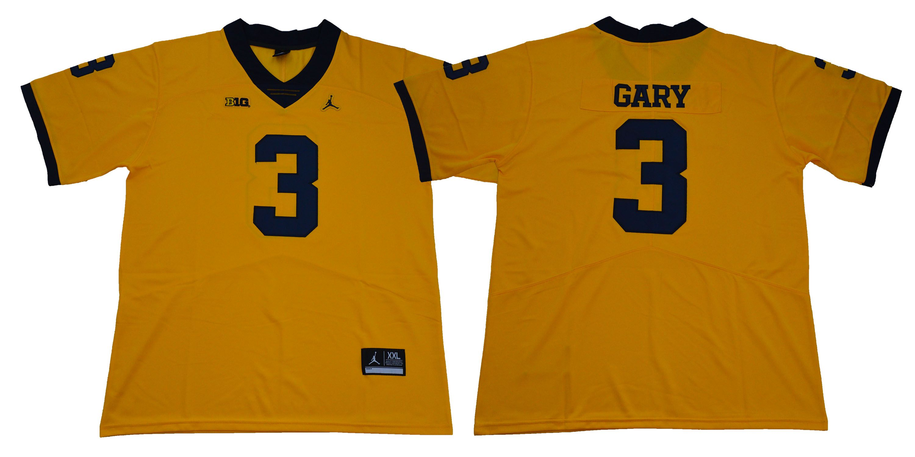 Men Michigan Wolverines 3 Gary Legend Yellow NCAA Jerseys