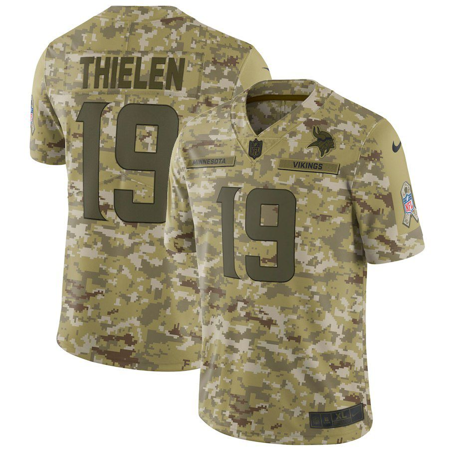 Men Minnesota Vikings 19 Thielen Nike Camo Salute to Service Retired Player Limited NFL Jerseys