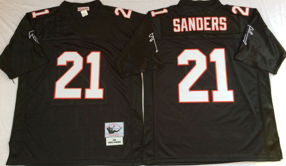 Men NFL Atlanta Falcons 21 Sanders black Mitchell Ness jerseys