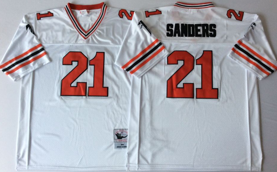 Men NFL Atlanta Falcons 21 Sanders white style2 Mitchell Ness jerseys