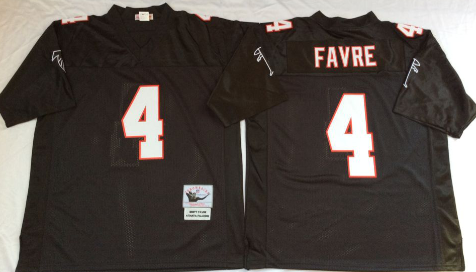 Men NFL Atlanta Falcons 4 Favre black Mitchell Ness jerseys
