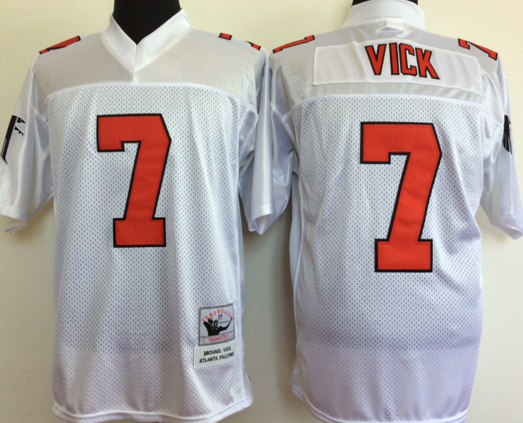 Men NFL Atlanta Falcons 7 Vick white Mitchell Ness jerseys