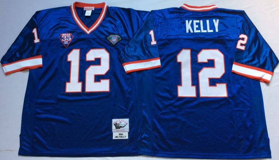 Men NFL Buffalo Bills 12 Kelly Mitchell Ness jerseys
