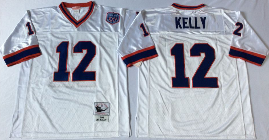 Men NFL Buffalo Bills 12 Kelly white Mitchell Ness jerseys