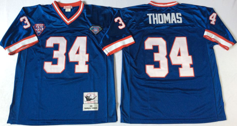 Men NFL Buffalo Bills 34 Thomas blue Mitchell Ness jerseys