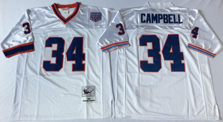 Men NFL Buffalo Bills 34 Thomas white Mitchell Ness jerseys