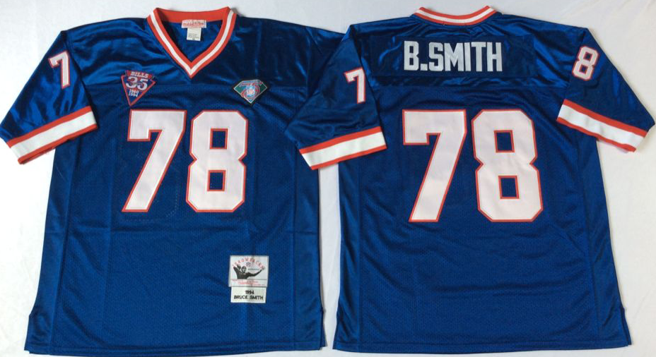 Men NFL Buffalo Bills 78 B Smith blue Mitchell Ness jerseys