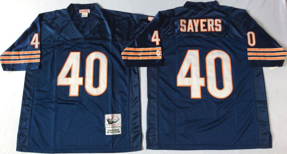 Men NFL Chicago Bears 40 Sayers blue style2 Mitchell Ness jerseys